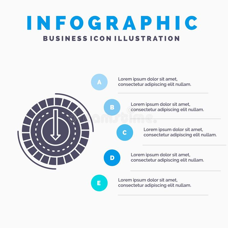 Consumption, cost, expense, lower, reduce Infographics Template for Website and Presentation. GLyph Gray icon with Blue. Infographic style vector illustration stock illustration