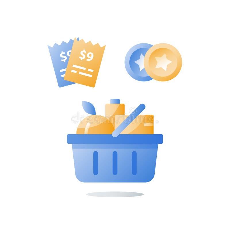 Consumption incentive concept, till slip and full grocery basket, loyalty program, earn bonus points, collect tokens. Till slip and full grocery basket, loyalty royalty free illustration