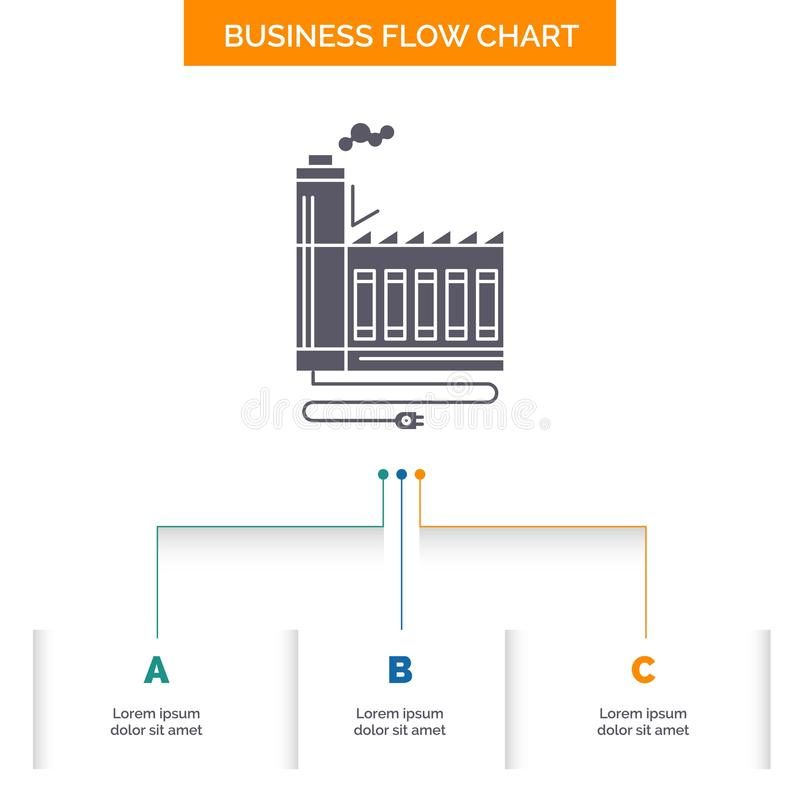 Consumption, resource, energy, factory, manufacturing Business Flow Chart Design with 3 Steps. Glyph Icon For Presentation. Background Template Place for text stock illustration