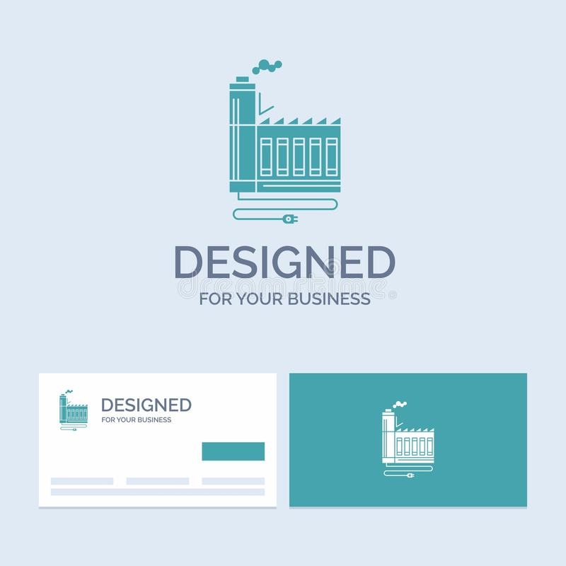 Consumption, resource, energy, factory, manufacturing Business Logo Glyph Icon Symbol for your business. Turquoise Business Cards royalty free illustration