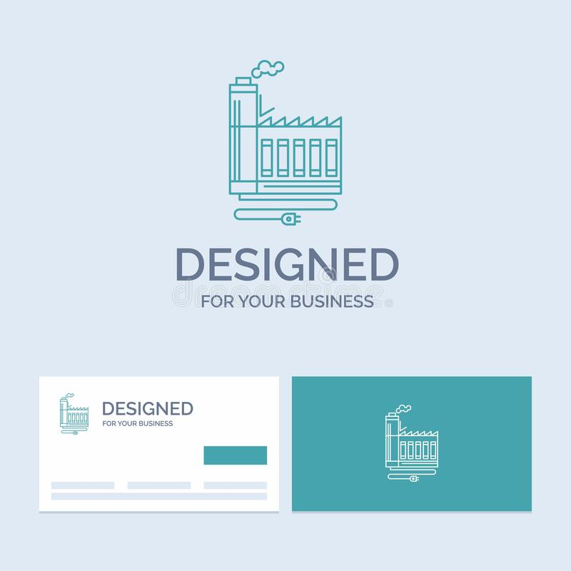 Consumption, resource, energy, factory, manufacturing Business Logo Line Icon Symbol for your business. Turquoise Business Cards. With Brand logo template vector illustration