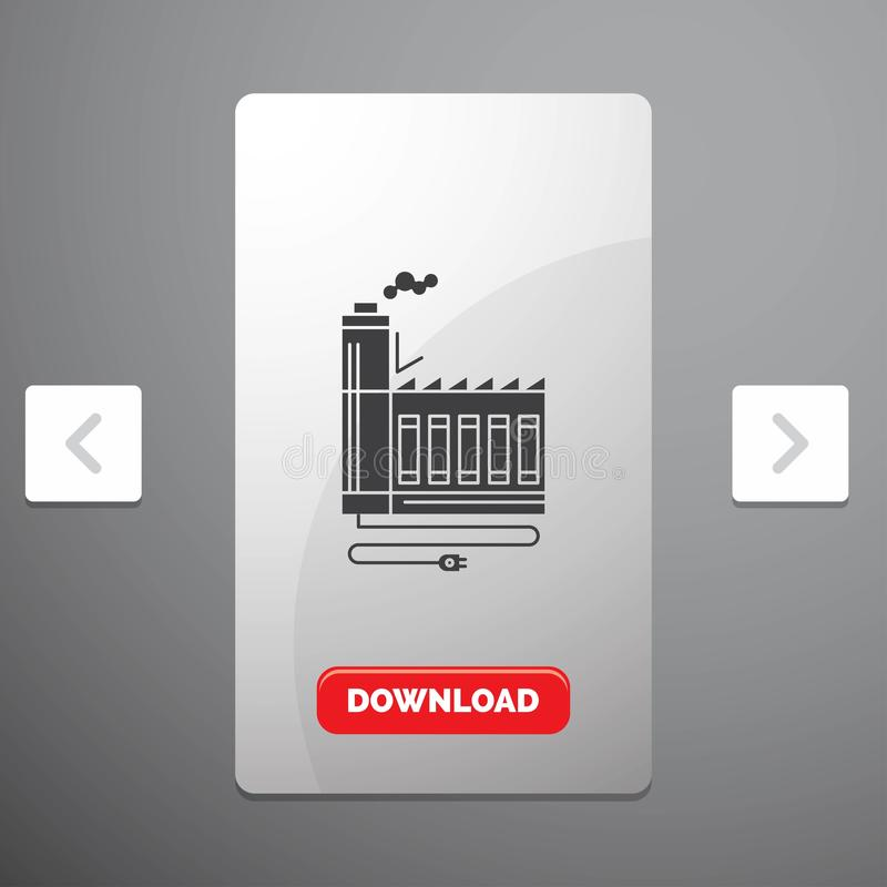 Consumption, resource, energy, factory, manufacturing Glyph Icon in Carousal Pagination Slider Design & Red Download Button. Vector EPS10 Abstract Template stock illustration