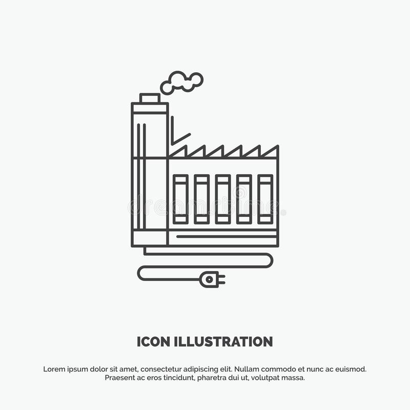 Consumption, resource, energy, factory, manufacturing Icon. Line vector gray symbol for UI and UX, website or mobile application vector illustration