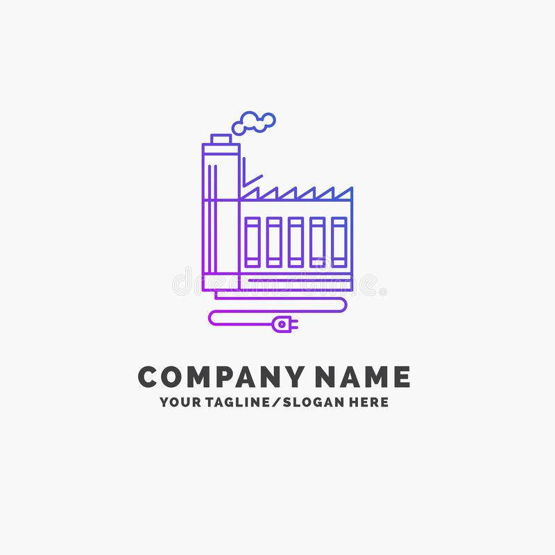 Consumption, resource, energy, factory, manufacturing Purple Business Logo Template. Place for Tagline stock illustration