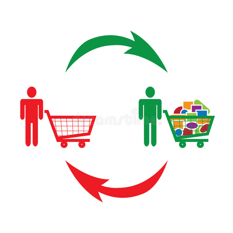Consumption and shopping symbolized. By shoppers next to empty and full shopping cart vector illustration