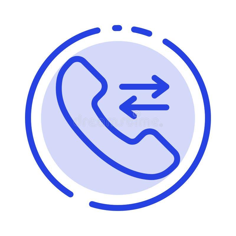 Contéstenos, llame, entre en contacto con línea de puntos azul línea icono stock de ilustración