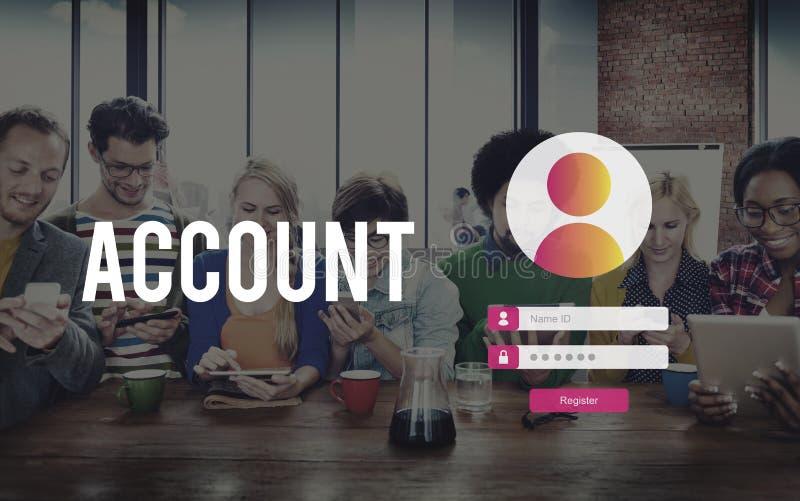 A conta assina dentro o conceito da privacidade da senha de usuário fotografia de stock royalty free