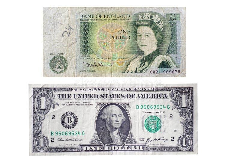 £1 conta britânica da nota v E.U. $1 foto de stock