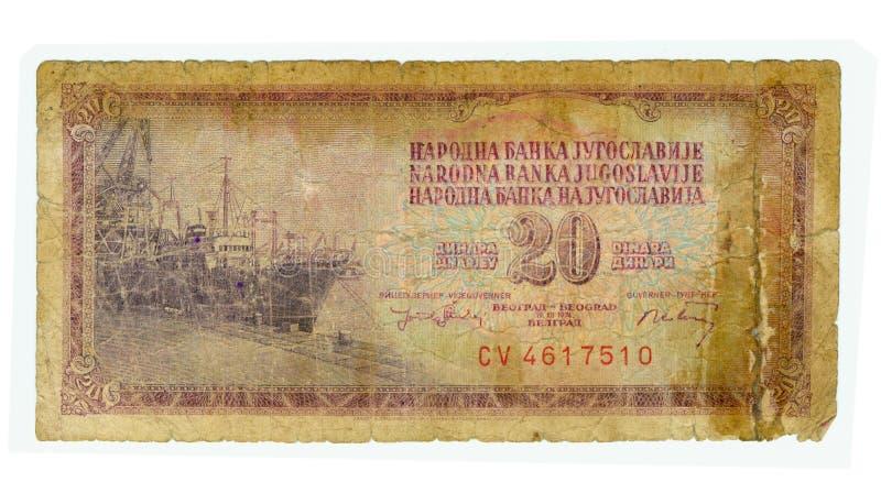 conta de 20 dinares de Jugoslávia, 1974 fotografia de stock