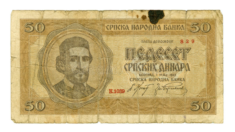 conta de 50 dinares de Serbia, 1942 foto de stock