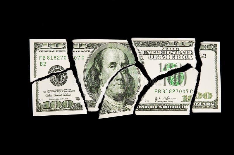 Conta De Dólar 100 Rasgada Imagem de Stock Royalty Free