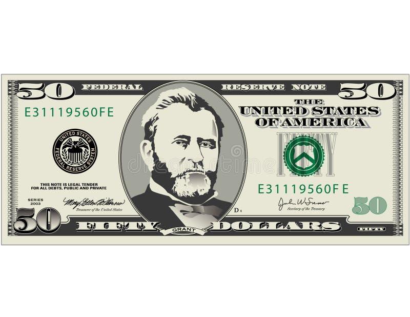 Conta de dólar cinqüênta   ilustração do vetor