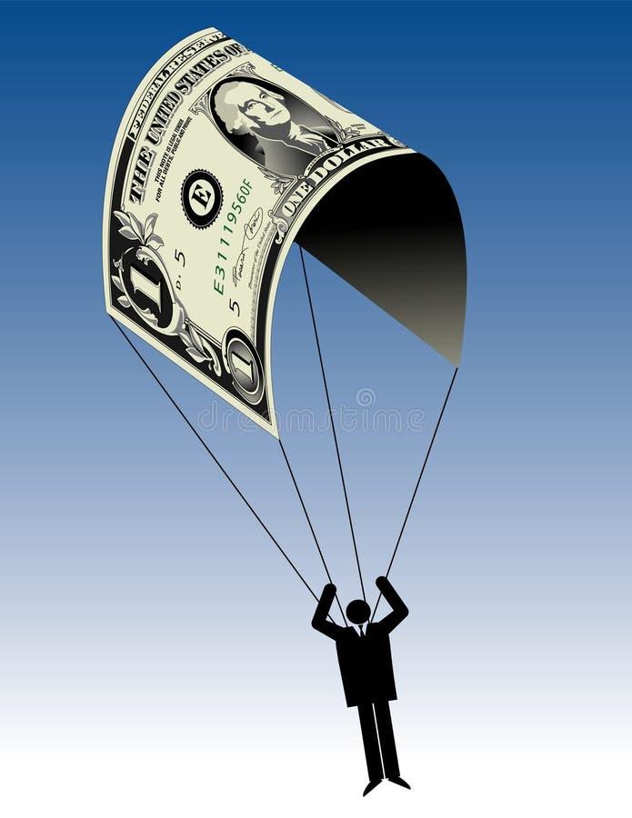 Conta de dólar como um pára-quedas ilustração do vetor