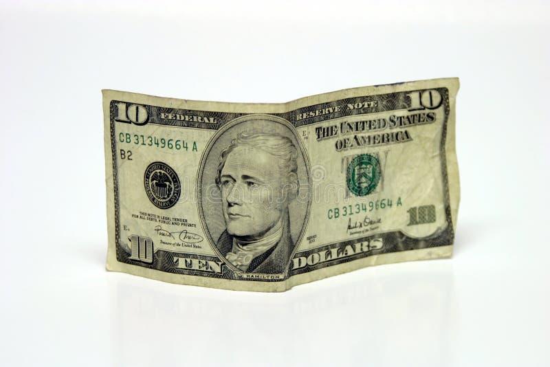 Conta De Dólar Dez Fotografia de Stock