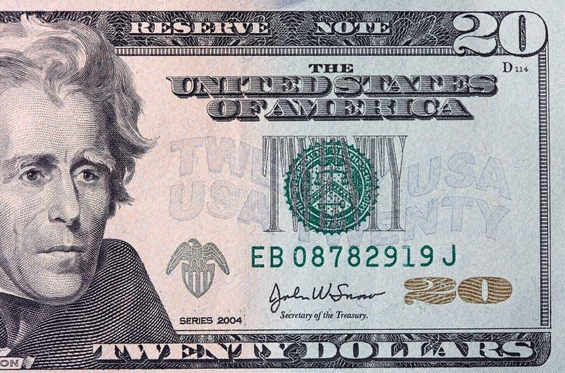 Conta de dólar vinte fotografia de stock