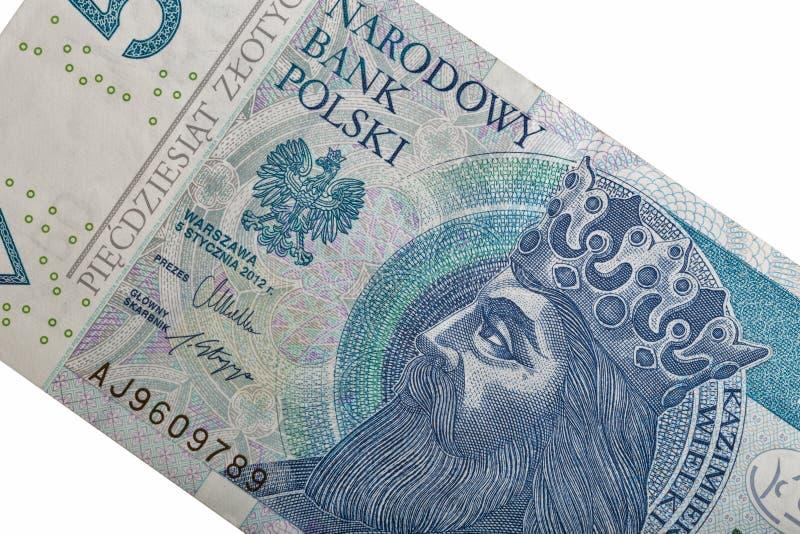 Conta de dinheiro polonesa um macro de cinqüênta zloty isolado no branco imagens de stock