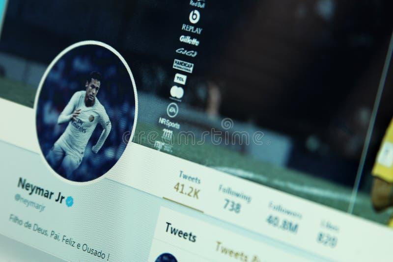 Conta do gorjeio de Neymar fotos de stock royalty free
