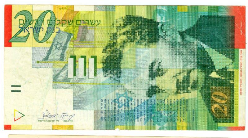 Conta do shekel vinte de Israel foto de stock royalty free