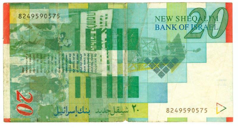 Conta do shekel vinte de Israel imagem de stock