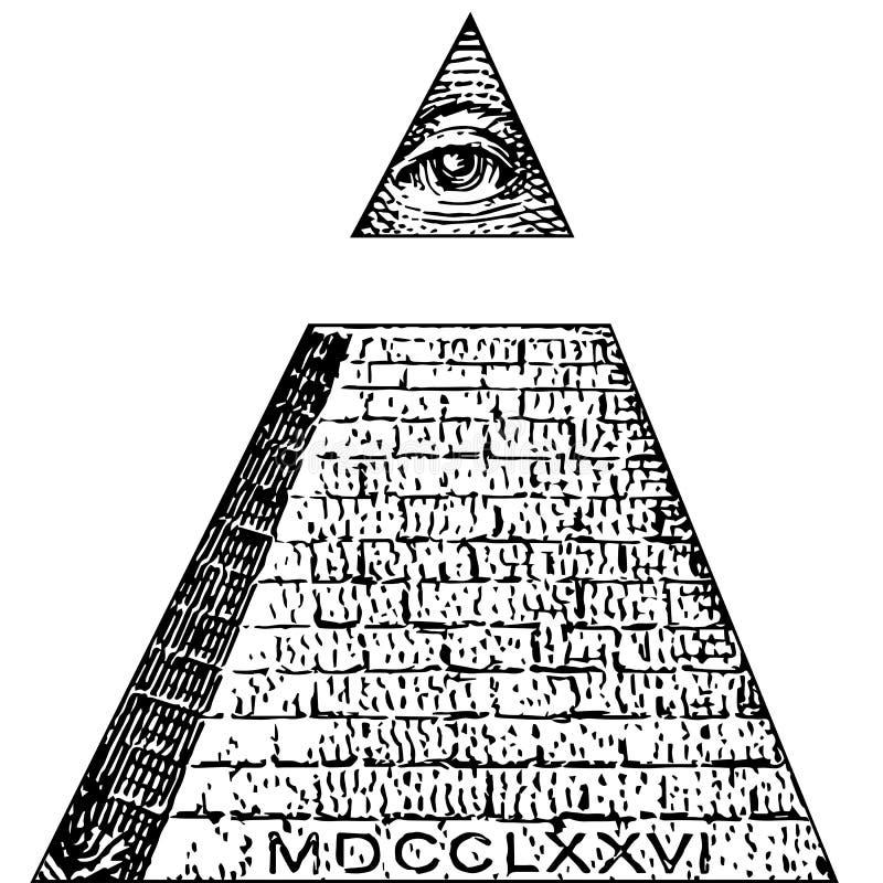 Conta dos símbolos de Illuminati, sinal maçônico, todo o vetor de vista do olho Um dólar, pirâmide Ordem mundial novo ilustração do vetor