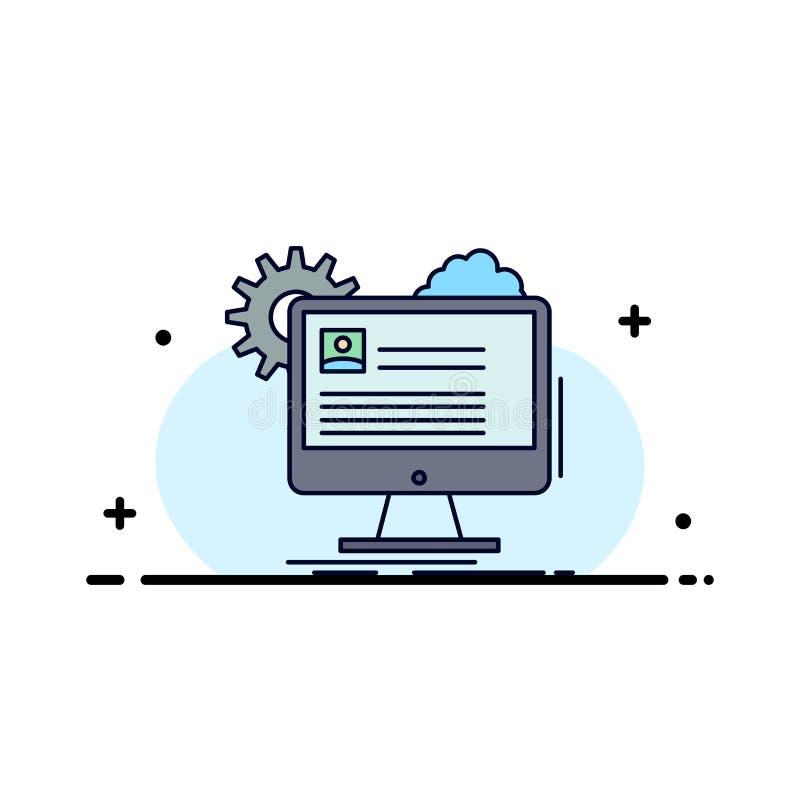 A conta, perfil, relatório, edita, atualiza o vetor liso do ícone da cor ilustração stock
