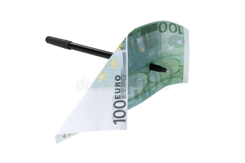 Conta perfurando do Euro da pena foto de stock
