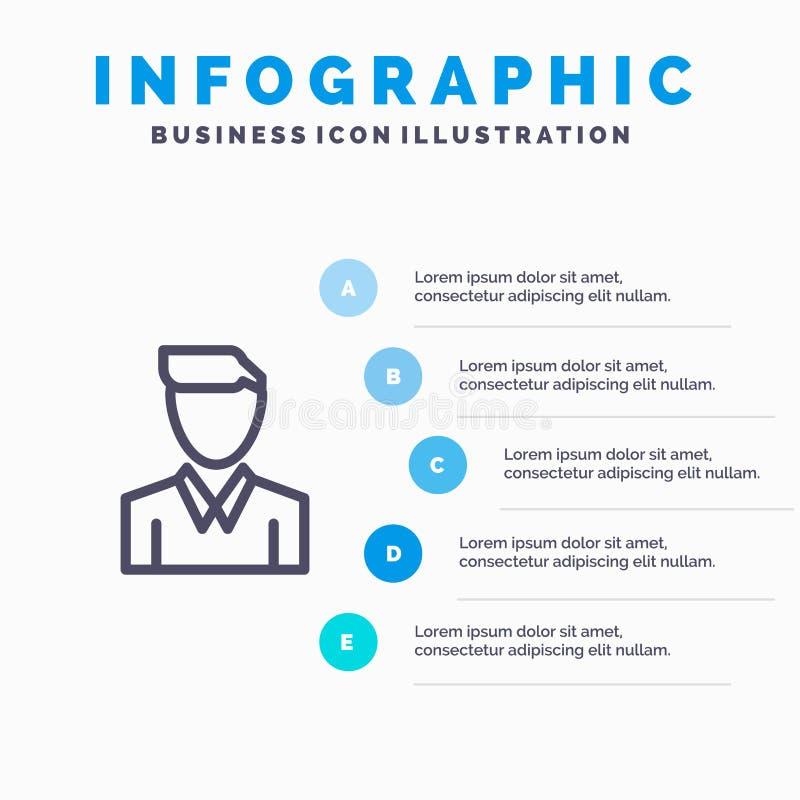 Conta, ser humano, homem, pessoa, linha ícone do perfil com fundo do infographics da apresentação de 5 etapas ilustração royalty free