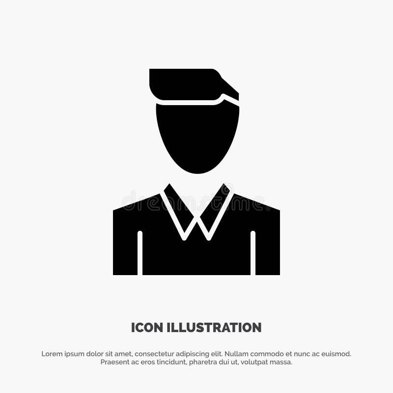 Conta, ser humano, homem, pessoa, vetor contínuo do ícone do Glyph do perfil ilustração stock