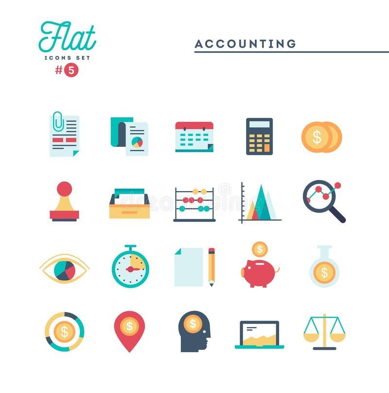 Contabilidade, documento, estatísticas e mais, linha fina ícones ajustados ilustração stock