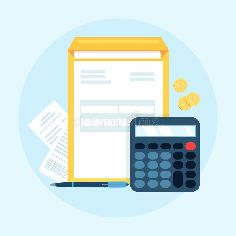 A contabilidade, contabilidade, verifica balanços financeiros, conceito incorporado do documento isolado no fundo azul Gráfico pa ilustração royalty free