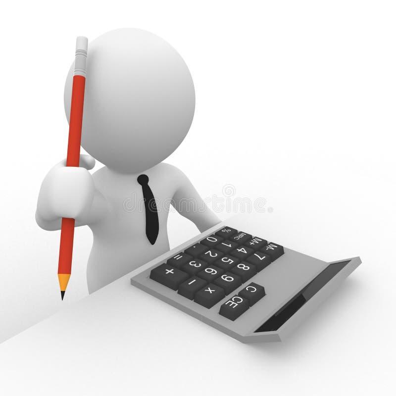 contabilista 3D com calculadora e lápis ilustração stock