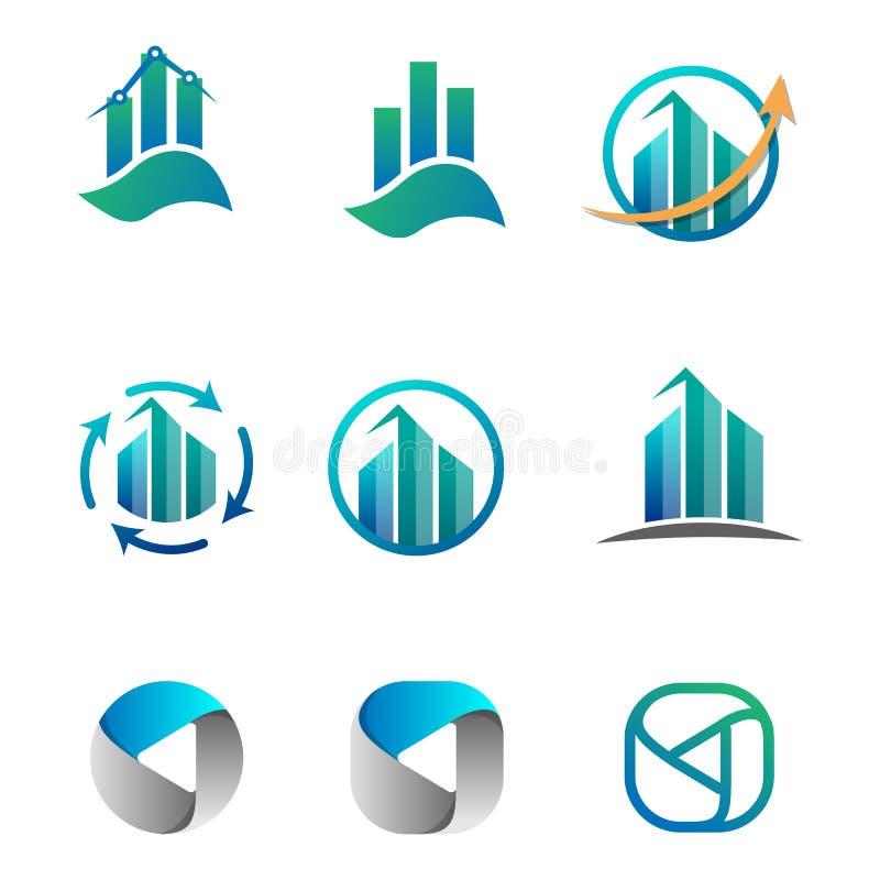 contabilità, finanza, illustrazione di vettore dell'insieme di logo di affari illustrazione di stock