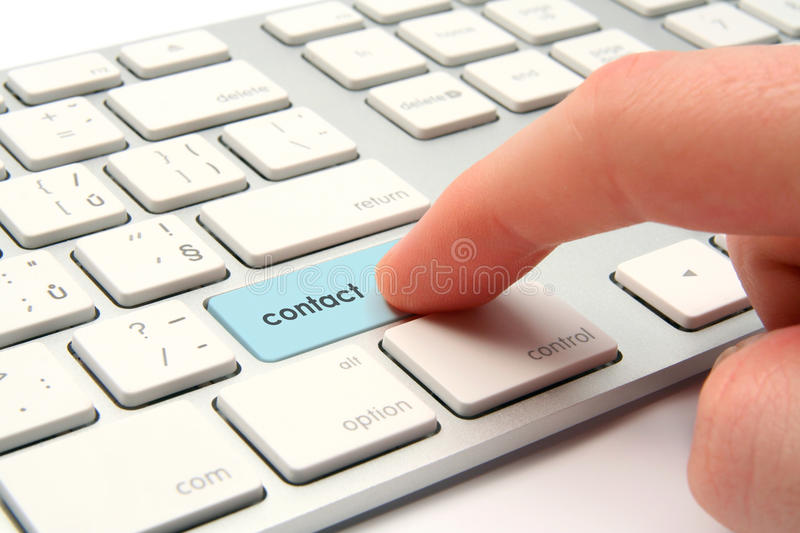 Contact. Electronic communication concept - keyboard with contact button