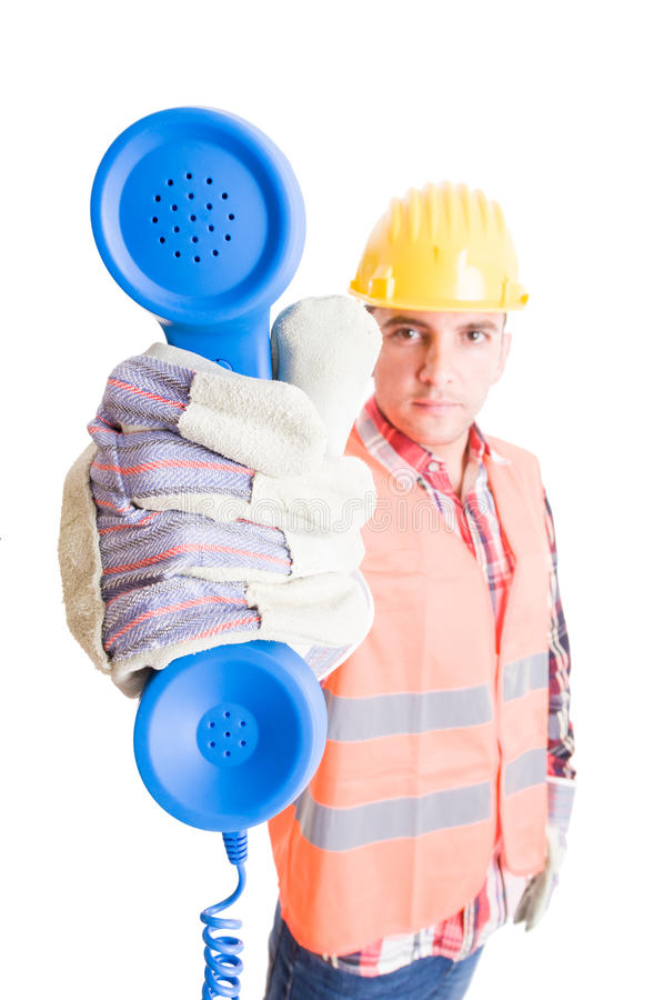 Contact, assistance support construction company stock photos