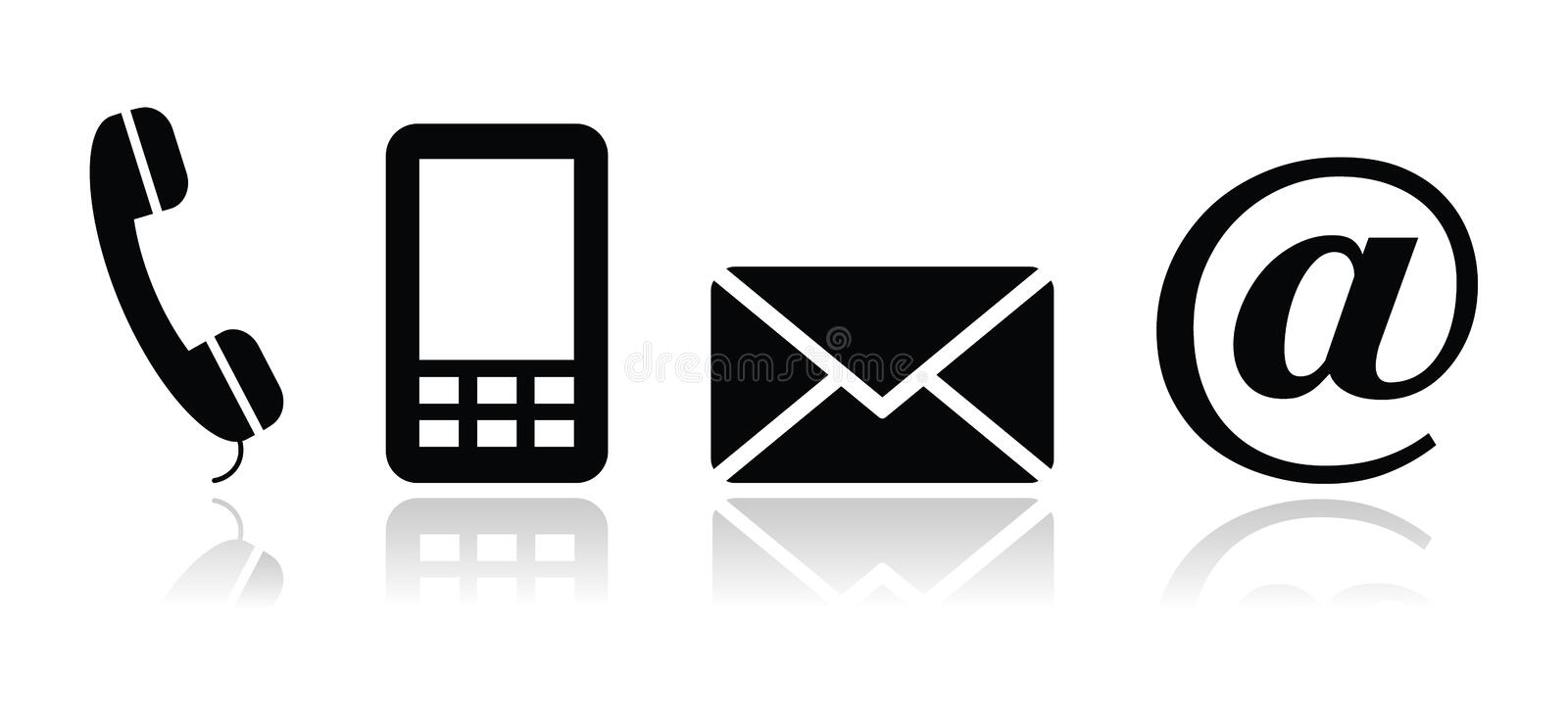 Contact black icons set - mobile, phone, email, en stock illustration