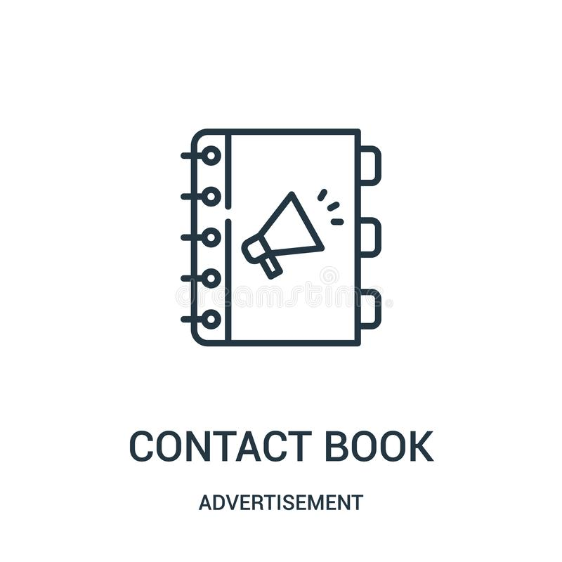 contact book icon vector from advertisement collection. Thin line contact book outline icon vector illustration vector illustration