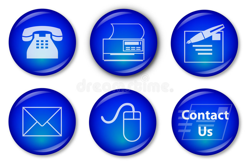 Contact Buttons (blue). Blue Web Buttons with contact icons (Phone, Fax, Mail, e-mail, Website and Contact Us