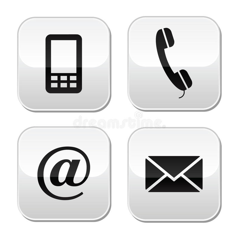 Contact buttons set - email, envelope, phone, mobi. Contact website glossy buttons - web design elements - cellphone, mail