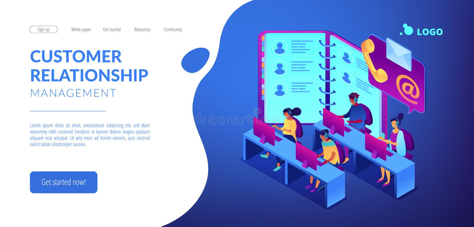 Contact center isometric 3D landing page. Customer service operators in headsets, phone and email contacts. Contact center, customer service point, customer vector illustration