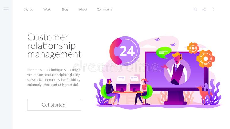 Contact center landing page template. Tech support, clients assistance and hotline, help hotline, call centre. Contact center, customer service point, customer vector illustration