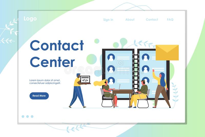 Contact center vector website landing page design template. Contact center vector website template, web page and landing page design for website and mobile site stock illustration