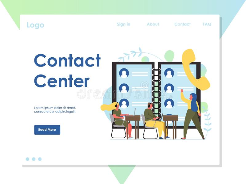 Contact center vector website landing page design template. Contact center vector website template, web page and landing page design for website and mobile site vector illustration