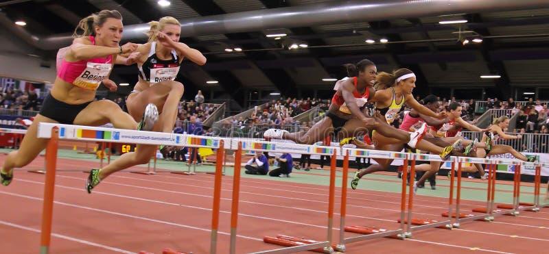 Contact d'intérieur d'athlétisme photo libre de droits