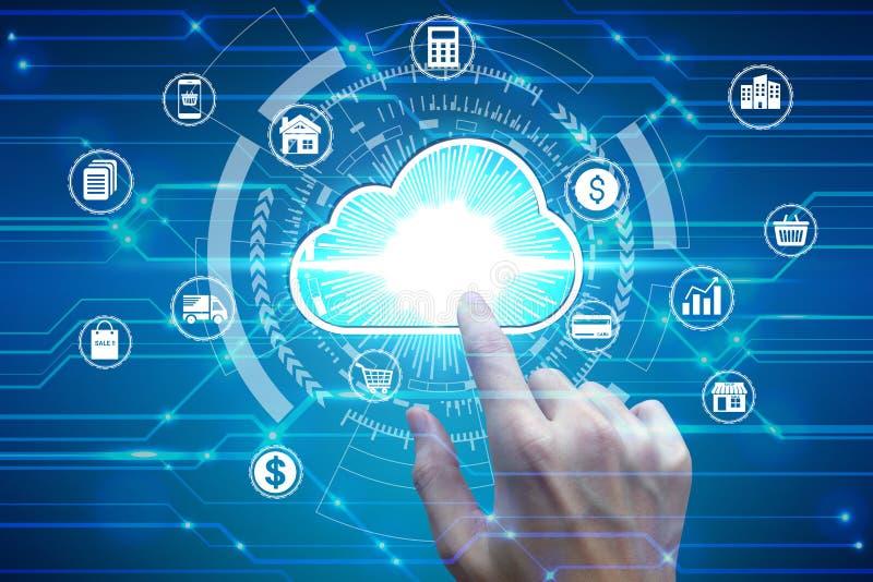 Contact de doigt avec l'icône de calcul de nuage virtuel au-dessus de la connexion réseau, technologie d'affaires de protection d images stock