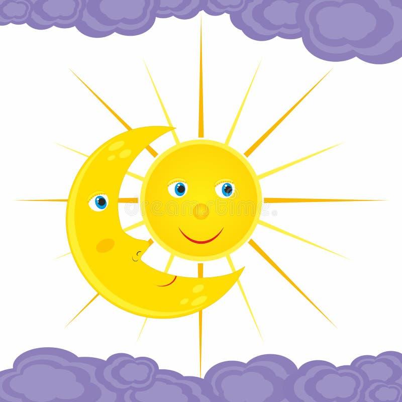 Contact de la lune et du soleil illustration libre de droits
