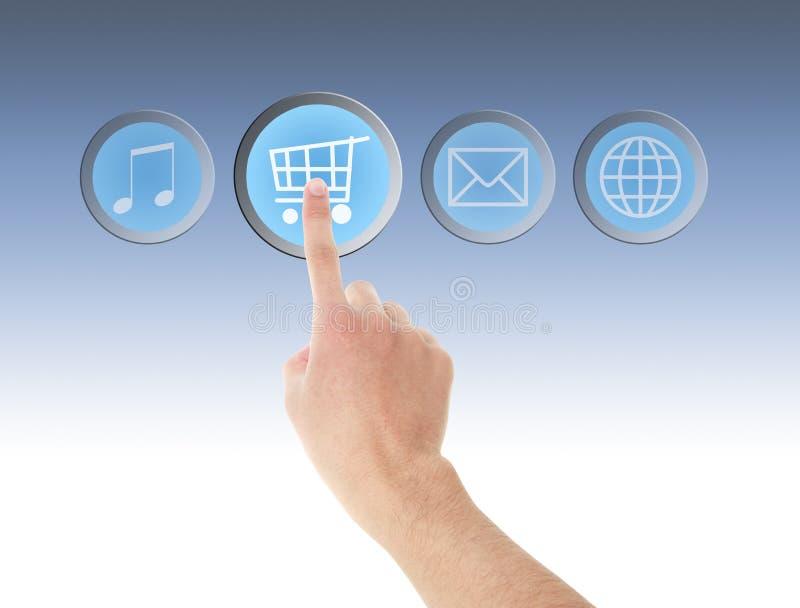 Contact de main sur l'icône d'achats image stock