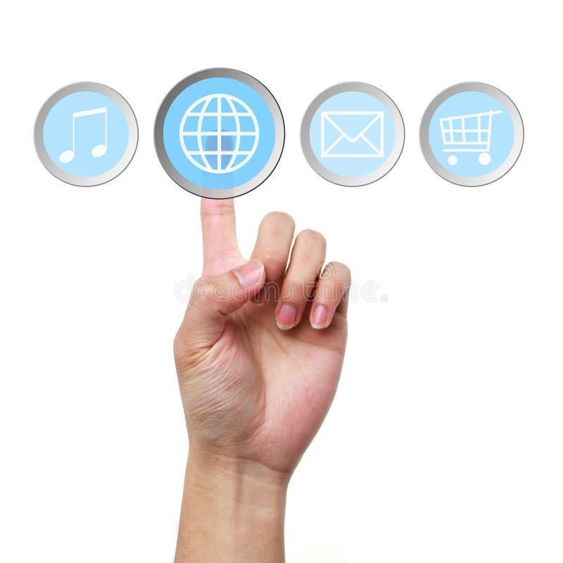 Contact de main sur l'icône d'Internet photographie stock