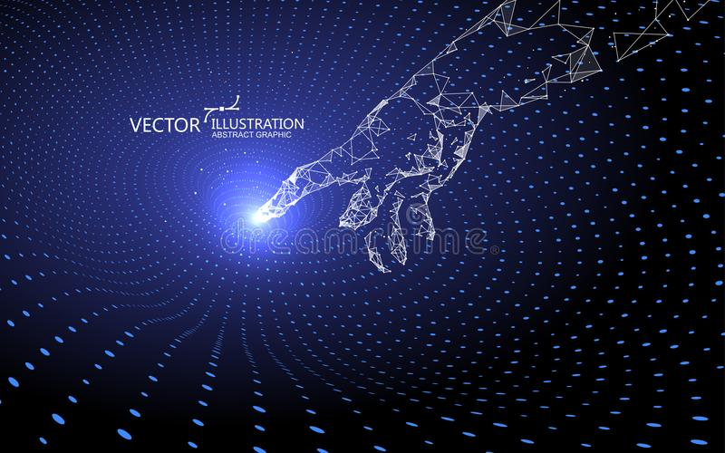 Contact gravitational waves, technology background. stock illustration