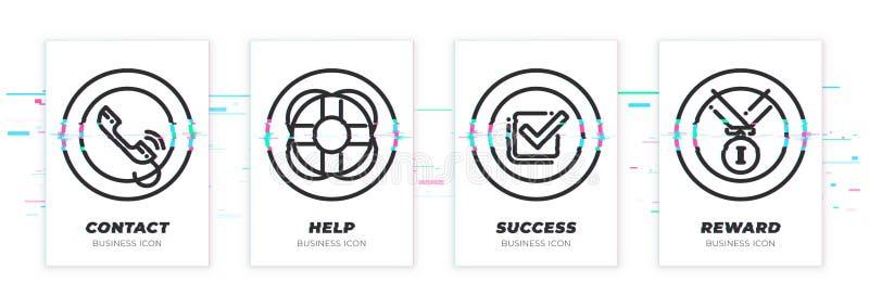 Contact, hulp, succes, beloning Het bedrijfsthema glitched zwarte geplaatste pictogrammen stock illustratie
