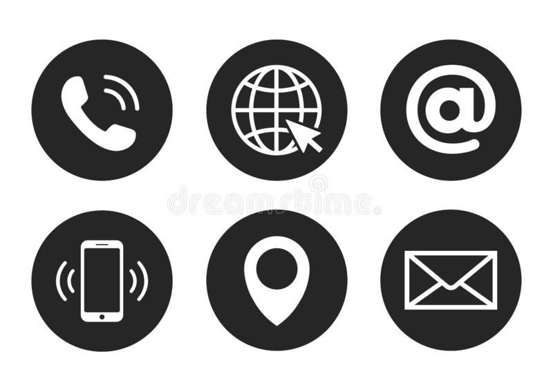 Contact icon set in flat style, 6 in 1. Vector illustration vector illustration